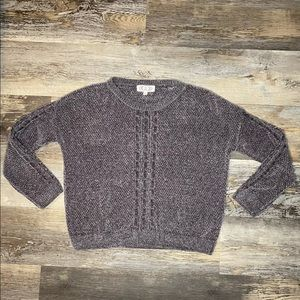 Pink Rose Cable Knit Chenille Pull Over Sweater